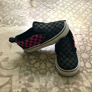 Vans slip-on sneakers, pink/black checkerboard, 7M